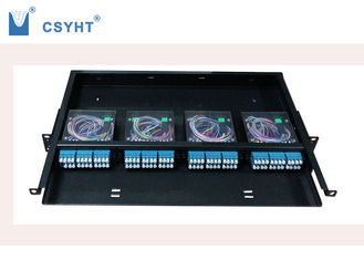 Black MPO 19 Fiber Optic Patch Panel High Capacity With 4pcs MPO Cassette