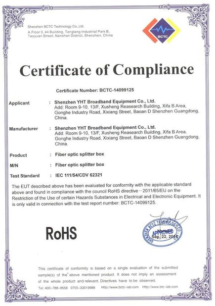 Porcellana Shenzhen YHT Broadband Equipment Co. Ltd Certificazioni
